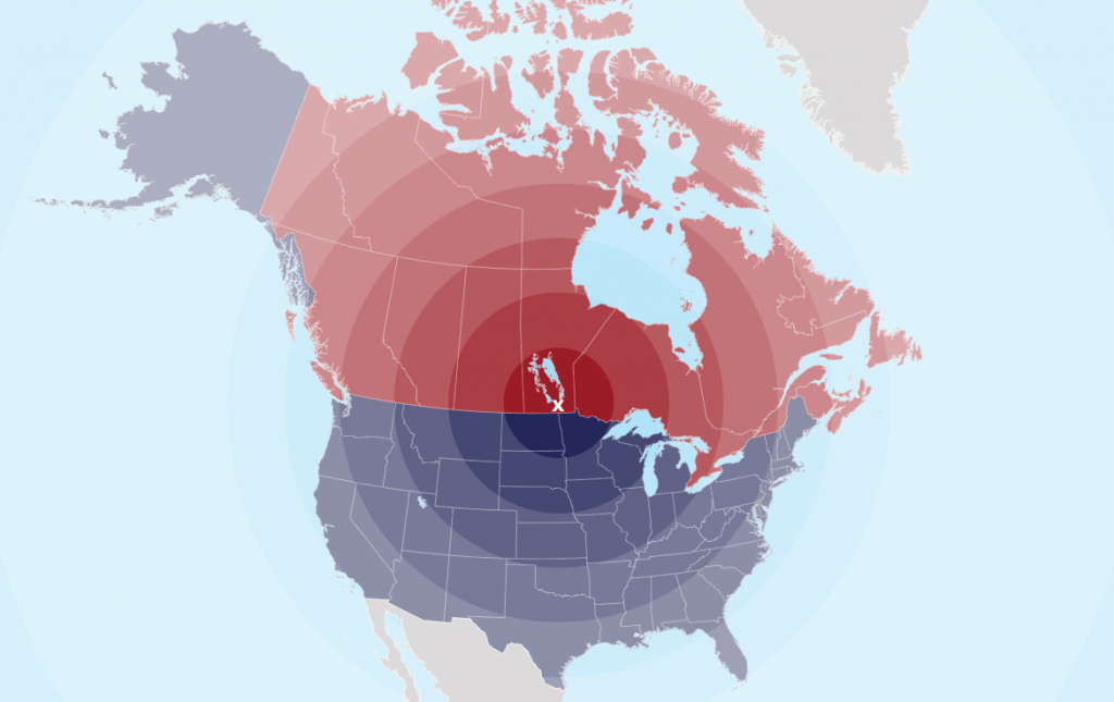 Jean-Guy Talbot live in the exact center of North America.